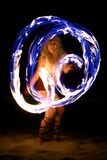 Fire Dance on the Beach at Night Royalty Free Stock Image