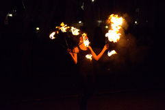 Fire dancer woman Royalty Free Stock Image