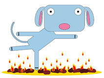 Fire dance. Illustration of a dog dancing on fire Stock Image