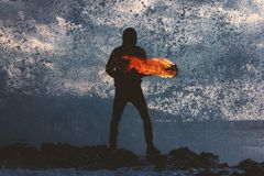 Fire, Dance, People, Beach, Sand Stock Images