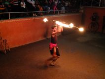 Fire dance performer Royalty Free Stock Photography