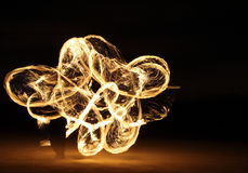 Fire Dancer in the dark Royalty Free Stock Photo