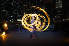Fire Dancer with Fire Staff Royalty Free Stock Image