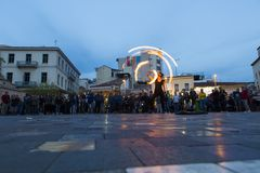 Fire dancer in Monastiraki Square Royalty Free Stock Photo