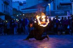 Fire dancer. In Monastiraki Square in Athens Greece Stock Photo