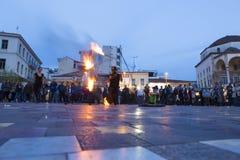 Fire dancer. In Monastiraki Square in Athens Greece Stock Images