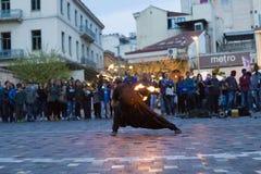Fire dancer. In Monastiraki Square in Athens Greece Royalty Free Stock Photography