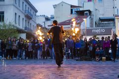 Fire dancer in Monastiraki Square Stock Image