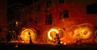 Fire Dancers stock photo