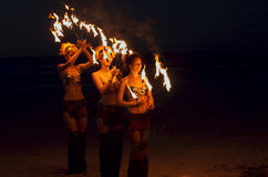 Fire dancers Stock Photos
