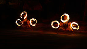 Fire dancers Royalty Free Stock Photos
