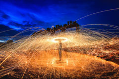 Fire dancing. Another way of wielding the power of creativity Stock Photography