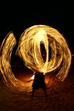 Fire dancing at beach Stock Images