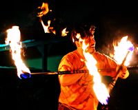 Fire dancing Royalty Free Stock Image