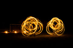 Fire dancing in dark night. At Thailand Royalty Free Stock Photography
