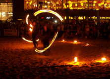 Fire dancing duo. Royalty Free Stock Photo