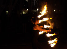 Fire dancing girl Royalty Free Stock Photo