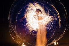 Fire dancing show Royalty Free Stock Photo