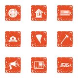 Fire danger icons set, grunge style. Fire danger icons set. Grunge set of 9 fire danger vector icons for web isolated on white background Stock Photography