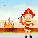 Fire danger. Illustration of fire danger girl Stock Photography