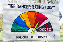 Fire danger rating sign Royalty Free Stock Photo