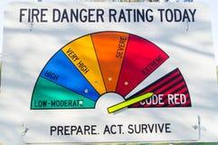 Fire danger rating sign. A fire danger rating sign in Victoria, Australia, indicating the danger of bushfires. Bushfires present a major risk to Australia in stock image