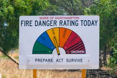 Fire Danger Rating Today street sign in Australia. Fire Danger Rating Today street sign in the Australian Outback royalty free stock photos