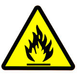 Fire danger sign. Yellow and black fire danger sign Stock Image