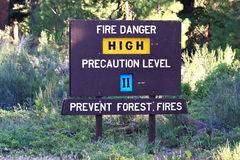 High Fire Danger Sign Royalty Free Stock Images