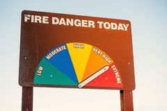 Fire Danger Today Signage high to Extreme warning. stock photos