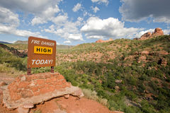 Fire danger warning sign royalty free stock photos