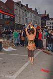 Fire dansers at festival Ghent spring Royalty Free Stock Photos