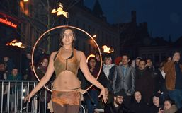 Fire dansers at festival Ghent spring Stock Photography