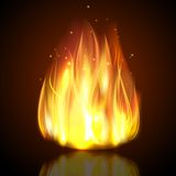 Fire On Dark Background. Fire burning campfire flame with sparks on dark background vector illustration Stock Photos
