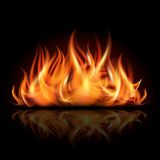 Fire on dark background. Stock Photo