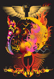 Fire and dead. Create a graphic image. Image skull with wings design with creative designs Thailand. The heat of the mysterious death decorative line thai Stock Photo