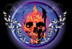 Fire and dead. Create a graphic image. Image skull with wings design with creative designs Thailand. The heat of the mysterious death decorative line thai Stock Images