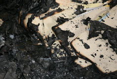 Fire debris. Fire damaged debris Royalty Free Stock Photo