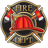 Fire Department. Or Firefighters Maltese Cross Symbol Stock Photo