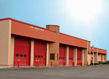 Fire department. With five bay doors royalty free stock photos