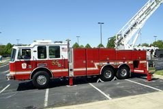 A fire department aeriial ladder fire truck. A Portstown fire department aerial ladder fire truck at a fire department event fin Greenbelt, Maryland royalty free stock photo
