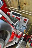 Fire Department Ambulance. Waiting in fire house stock image