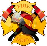 Fire department badge. With crossed axes, fire helmet against the yellow Maltese cross Stock Images