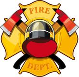 Fire department badge. With crossed axes, fire helmet against the yellow Maltese cross Royalty Free Stock Images