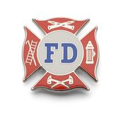 Fire Department Badge. Fire Fighter Cross Badge Isolated on White Background royalty free stock image