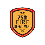 Fire department badge with shield. Isolated vector illustration Stock Photos