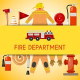 Fire department banner vector illustration. Firefighting equipment and tools firehose hydrant, alarm, bollard and. Extinguisher. Fireman uniform with helmet and stock illustration