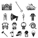 Fire Department black icons in set collection for design. Firefighters and equipment vector symbol stock web. Fire Department black icons in set collection for Royalty Free Stock Image