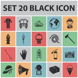 Fire Department black icons in set collection for design. Firefighters and equipment vector symbol stock web Royalty Free Stock Photos