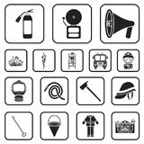 Fire Department black icons in set collection for design. Firefighters and equipment vector symbol stock web. Fire Department black icons in set collection for Royalty Free Stock Photography